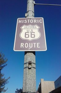 Route 566 Road Sign in Barstow, CA for The Mother Road