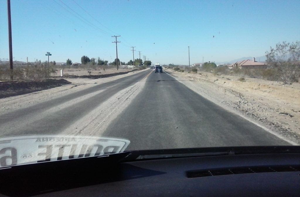 Sand Blown Onto Route 66, The Mother Road Near Barstow, CA