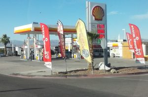 Gas sign in Needles, California