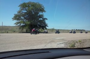 Bikers in Glenrio, TX on Route 66
