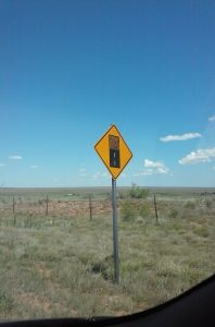 The sign is in New Mexico, looking west.